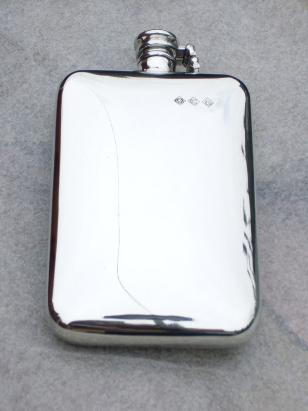 10oz Stamped Pewter Hip Flask with Captive Top (F047)