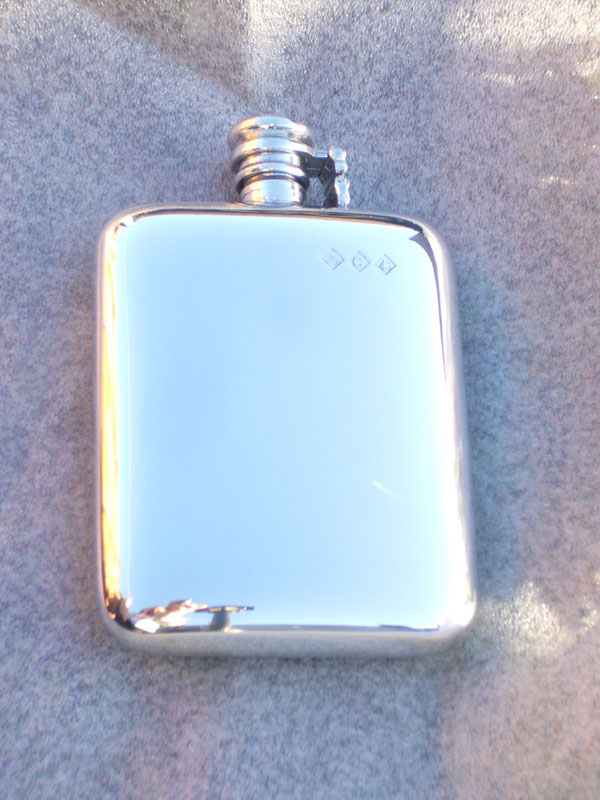 8oz Stamped Pewter Hip Flask with Captive Top (F056)