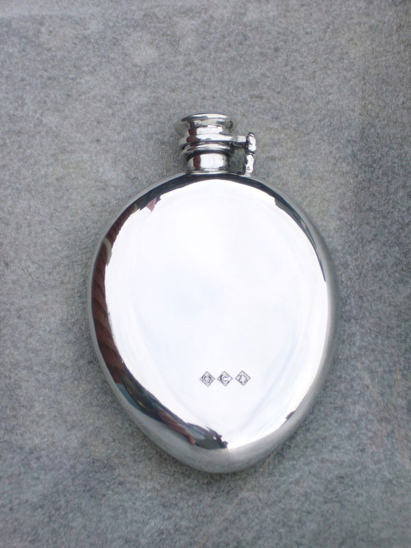 6.5oz Kuznet Curve Pewter Flask with Captive Top (F059)