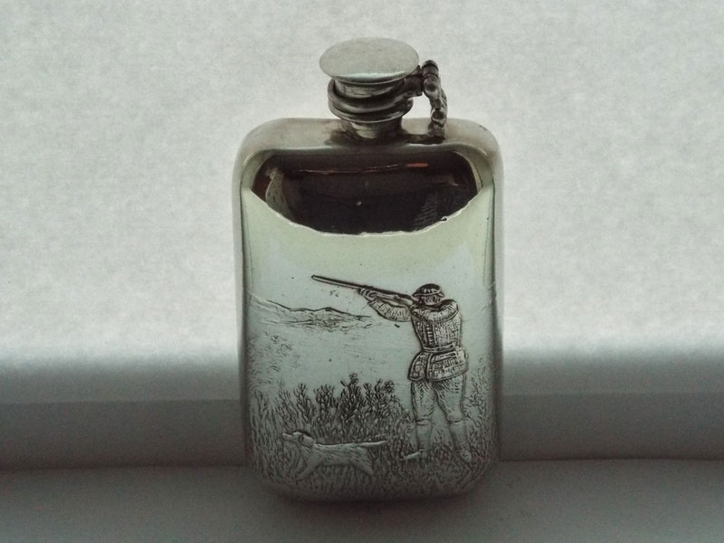 6oz Stamped Pewter Flask with Embossed Shooting Scene and Captive Top (F077)