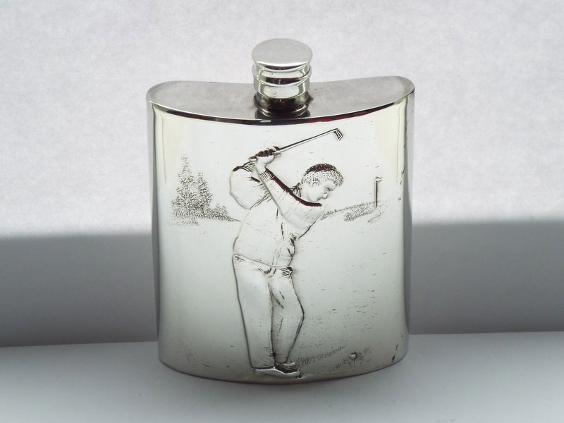 "6oz ""The Drive"" Embossed Kidney Shaped Pewter Golf Themed Flask (F081)"